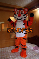 Wholesale Tiger Mascot Outfit - Wholesale-New Tiger Tigger Mascot Costume Adult Size Fancy Dress Cartoon Party Carnival Outfits Suit Free Ship