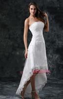 marfim vestido de casamento curto praia venda por atacado-2016 Vestidos de Casamento de Praia Curta Uma Linha Strapless Apliques de Renda Espartilho Voltar Sexy Branco Marfim Vestidos de Noiva QA07