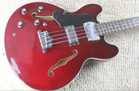 Custom 4 corde ES Jazz BASS Rosso vino Rosso elettrico Guitar Fiamma Maple Top Semi Hollow Corpo Doppia F Hole Rosewood Fingerboard