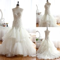 online shopping Ball Gowns - 2016 Ivory Sexy Sheer Ball Gown Wedding Dresses Lace Appliques Wedding Dresses Backless Wedding Gowns Mermaid Plus Size Wedding Dress
