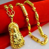 999 gold halskette großhandel-Vietnam Jinsha Gold Halskette Männer dicke schwere dominierende Nachahmung 999 Gold Anhänger Neureichen Avalokiteshvara