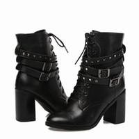 Wholesale Ladies Cheap Cowboy Boots - Ladies fashion punk cow skin genuine leather middle boot lace up shoe boot big middle heel round toe cheap women buckle belt Roman Boots X18