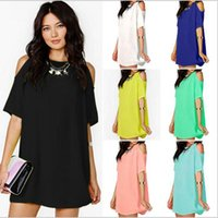Wholesale Beach Sexy Cloth - Summer Fashion Dresses Short Sleeve Loose Dresses Women Chiffon O Neck Dress Sexy Beach Dress Solid Slim Mini Dress Tops Women Cloth YYA228