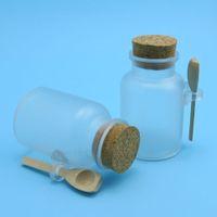 ahşap mantar şişeleri toptan satış-Toptan-12 X 200G ABS Banyo Tuzu Şişe Ahşap Kaşık ile Cork Kavanozu ile 200ml Toz Plastik Şişe