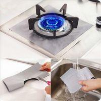 Wholesale Square Melamine - 4Pcs Reusable Aluminum Foil Gas Stove Burner Cover Protector Clean Mat Kitchen Cleaning Tools
