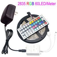Wholesale Diy Light Decorations - 5M LED RGB Strip Light 2835 SMD 300LEDs 44 Keys Remoter Controller 12V 2A Power Adapter for DIY Indoor Decoration Lamp Tape Lighting