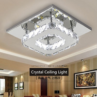 Wholesale Square Crystal Ceiling Lamp - Modern LED Crystal Ceiling Light 12W Fixture Square Surface Mounted Crystal Lamp for Hallway Corridor Asile Light Chandeliers Ceiling Light