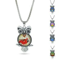 Wholesale Vintage Owl Glasses - New fashion Vintage Retro Promotion owl necklace sweater chain Time gem Pendant Necklaces Jewelry free shipping