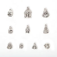 Wholesale Metal Buddha Charms - Free shipping New Wholesale 75pcs Mixed Antique Silver Plated Zinc Alloy Avalokitesvara Buddha Charms Pendants DIY Metal Jewelry Findings j