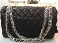 Wholesale Diamond Quilted - Free Shipping (31CM) Black Quilted Flap Bags Women's Jumbo PU Leather Lambskin Shoulder bag with Silver Chains Gold Hardware Chain Handbag