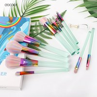 Docolor Nuevo 10pcs Pinceles de maquillaje Set Light Green Transparent Handles with Colorful Bristle Make Up Brushes Super Soft Hair Tools