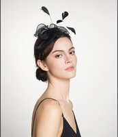 Wholesale Headband Top Hat Fascinator - 2017 Party Prom Evening Top Quality Black Small Hats Headband Headpieces Wedding Accessories Feather Fascinator Hats