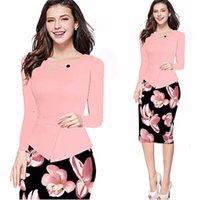 Wholesale Two Piece Ladies Dress Suits - 2016 Autumn Women Elegant Work Wear Suit-dress Long Sleeve Split Joint Printting Office Pencil Elastic False Two Piece Ladies Dress