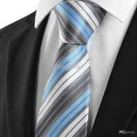 Wholesale Cheap Silk Ties Wholesale - Wholesale-Fashion Business Suits Tie Classic White Blue Grey Stripe Silk Tie For Men Cheap tie Free Shipping