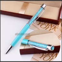 Wholesale Colorful Crystal Ballpoint - Wholesale Colorful Swarovski Diamond Crystal Ballpoint Pen with Gem on the top SW Roller Ball Pens Writing Office Supplies Christmas Gift