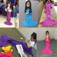 Wholesale Handmade Children - Crochet Mermaid Blankets for Kids Handmade Knitted Mermaid Blankets for Children Mermaid Swaddle Mermaid Sleeping Blanket 70*140 D633 10pcs