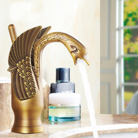 Wholesale Swan Sink Faucets - Elegant High-end Basin Vessel Sink Taps Swan Shape Antique Brass Countertop Faucet