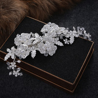 Perle De Perles Tiara Pas Cher-Nouvelle mode Vintage Mariage nuptiale Crystal Rhinestone Pearl perlés accessoires pour cheveux Headband Band Crown Tiara Ribbon Headpiece Jewelry
