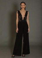 Wholesale Black Leather Long Sleeve Dress - black jumpsuit evening dresses 2018 lace bodice pantsuit deep v neckline floor length party prom gowns