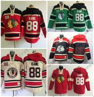 Wholesale price ice - Cheap Price 88 Patrick Kane Chicago Blackhawks Hoody Red Green Black Green Kane Old Time Hooded Pullover Ice Hockey Hoodies