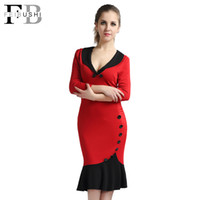 Wholesale Women Working Dresses - Autumn Dress 2017 Women V-Neck Fishtail Pencil Patchwork Casual Office Work three quarter Sleeve Red Bodycon Vintage Midi Dress