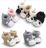 Wholesale Cute Animal Baby Booties - Hot sale Winter Cute Panda Animal Style Baby Boots baby boys girls First Walkers Shoes Baby cartoon Booties Infant Toddler Shoes