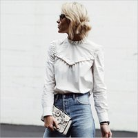 Damen Hofhemden Kaufen -Modest Solid Ruffles Piping Frauen Bluse Stand Collar Langarm Button Palace Court Büro Dame Shirt Neuheit Femme Pullover T-Shirt Tops