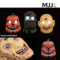 Wholesale Horror Figures - Monster Ghost Head Lamp Battery Operated Figurines with LED Light and Horror Creative Sound Touch Sensitive Halloween Decoration Props