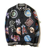 новая одежда hba оптовых-Хип-хоп Hba одежда мужчины € S повседневная Бейсбол Нью-Йорк Спорт колледж толстовки кофты куртки Letterman Harajuku верхняя одежда пальто