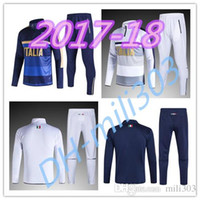 Wholesale Shinny Suits - 2017 2018 Survetement football Italy tracksuit italia training suit 17 18 Soccer Chandal italian training shinny tight pants sweater set