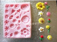 Wholesale Mini Silicon Mould - Wholesale-Fondant Silicon Mold Tools Baking tools flower mini silicone gel resin mold sugar cake mould sugar flowers polymer clay tools