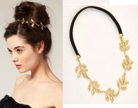 Wholesale Gold Leaf Hair Band Accessories - European Style Fashion Olive Branch Hair Accessories Lovely Chain Elastic Gold Leaf Hair Band Headband for Elegant Women DHF060