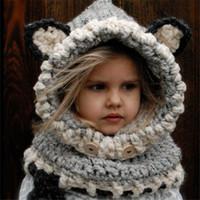 bebek şal şapkaları toptan satış-2016 yeni Sıcak Kış Kızlar tilki eşarp kap yaka yün örme bebek bebek çocuk şapka Bebek Kız Şal Kapşonlu Kukuletası Beanie Caps