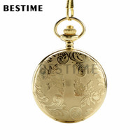 BESTIME Relógio Floral Cover Luxo Golden Full Hunter Classic Quartz Pocket Watch Chain Numerais árabes Dial branco