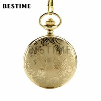 Wholesale Antique Gold Pocket Watch Chain - BESTIME Watch Floral Cover Luxury Golden Full Hunter Classic Quartz Pocket Watch Chain Arabic Numerals White Dial
