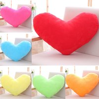 Wholesale Blue Couches - 107 HANCHENTE Colorful 50*40cm Plush Heart Shaped Pillow Red Heart Cushion Stuffed Heart Toy Pink Yellow Purple Home Bed Couch Sofa Decor