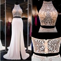 Wholesale Halter Neck Top Slit - Ivory Two Pieces Dresss Prom Gowns High Beaded Neck Halter Open Back Slit Illusion Crop Top Mermaid Prom Dresses Party Gowns