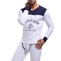 Wholesale New Onesies - Wholesale-1 set mens Pajamas underwear sleepwear cotton modal pants robe Lounge Manview brand 2016 new keep warm long sleeve home suits