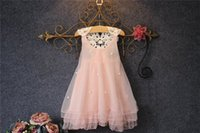 Wholesale Wholesale Beaded Top Clothes - 2017 Summer dress kids girl dress princess Net yarn bead princess dress kids clothes for girls top quality