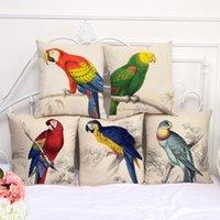Wholesale parrot cushions covers - Animal Bird parrot pillow Case Cushion cover Pillowcase Cover Square linen cotton soft pillowslip beddng sets 240579