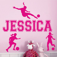 Wholesale Sports Wall Mural Wallpaper - Custom personalized name girl soccer sports wall stickers living room bedroom home decor wallpaper mural 56*33 cm