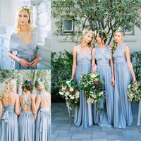 Wholesale Infinity Bridesmaid Dress - Long Bridesmaid Dresses with Dusty Blue Skirt For 2016 Summer Wedding Bridal Party Gowns Multiway Wear In Different Styles Infinity Cheap