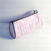 Wholesale Pink Boutiques - Famous brand cosmetic case luxury makeup organizer bag beauty toiletry pouch drum clutch purse strip tote logo boutique VIP gift wholesale
