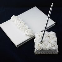 Wholesale Books Ivory - Free shipping Wedding Guest Book and Pen Set With Decorative White Silk Roses wedding decorations supplies free shipping