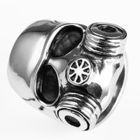 Wholesale Unique Animal Masks - Men's Stainless Steel Retro Cool Skull Skeleton Gas Mask Ring with In Unique Design Avivahc 14