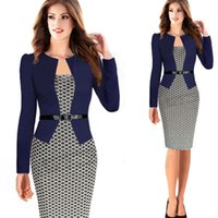 Wholesale Peplum Dress Xs - Slim Square Neck Patchwork Knee-length Women Elegant Slimming Work Office Dresses Ladies Houndstooth Knee-Length Pencil Dresses With Belt