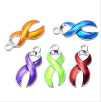 Wholesale Enamel Ribbon - 10pcs lot Silver Plated Enamel Hope Ribbon Cancer Charms Pendants for Jewelry Making DIY Handmade Craft Accessories 19x6mm