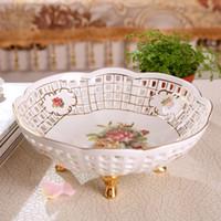 Wholesale Porcelain Horses - Porcelain fruit bowl ivory porcelain god horse design hollow out outline in gold table fruit bowl modern fruit bowl wedding gift