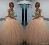 Wholesale Sweetheart Princess Prom Dresses - Princess 2017 Peach Quinceanera Dresses Sweetheart Ball Gown Prom Dresses for Sweet 16 with Beaded Crystal Princess Prom Gowns
