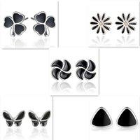 Wholesale Earrings Chrysanthemum - 2017 Newest 925 Sterling Silver Stud Earrings Retro Black Butterfly Chrysanthemum Clovers Earrings Stud for Women Fashion Lady Girl Jewelry
